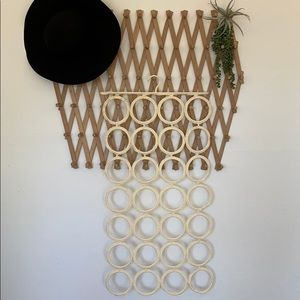 Hanging scarf tied rack hoops